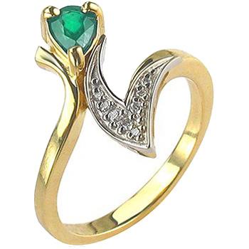Кольцо из комбинированного золота с 8 бриллиантами весом 0.07 карат и изумрудом