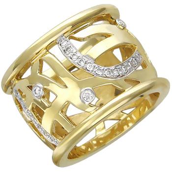 Кольцо из комбинированного золота с 43 бриллиантами весом 0.36 карат