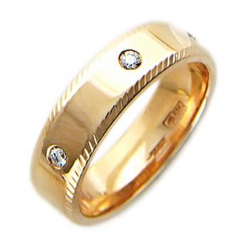 Обручальное кольцо из красного золота с 6 бриллиантами весом 0.18 карат