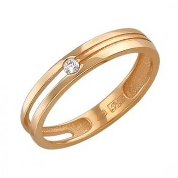 Помолвочное кольцо из красного золота с 1 бриллиантом весом 0.05 карат