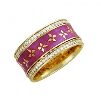 Обручальное кольцо из желтого золота с 112 бриллиантами весом 0.57 карат и эмалью, артикул 01О640190ЭL-КО-БРЭМ