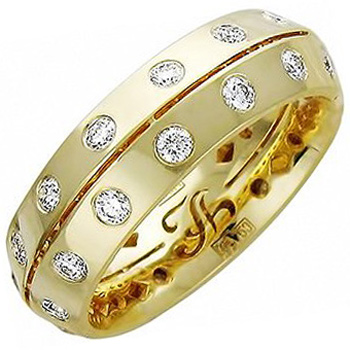 Обручальное кольцо из желтого золота с 28 бриллиантами весом 0.91 карат