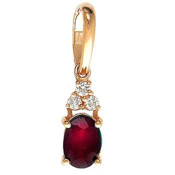 Подвеска из красного золота с 3 бриллиантами весом 0.09 карат и рубином