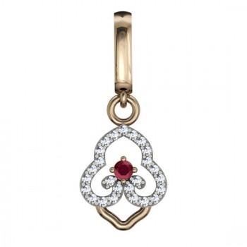 Подвеска из красного золота с 25 бриллиантами весом 0.09 карат и рубином
