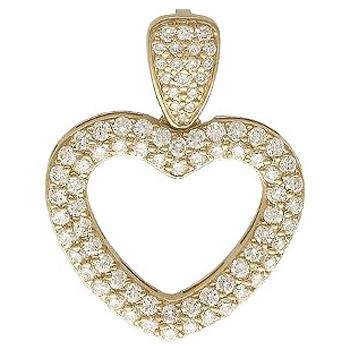 Подвеска Сердце из желтого золота с 81 бриллиантом весом 1.59 карат