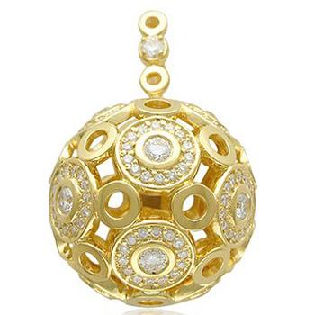 Подвеска Шар из желтого золота с 180 бриллиантами весом 2.19 карат