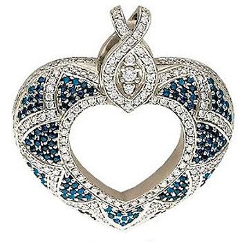 Подвеска Сердце из белого золота с 219 бриллиантами весом 1.13 карат и сапфирами