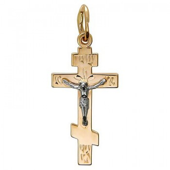 Подвеска Крестик из комбинированного золота 585 пробы, артикул 01Р760711-ПО