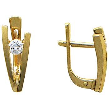 Серьги из желтого золота с 2 бриллиантами весом 0.30 карат, артикул 01С641437-СЕ-БР
