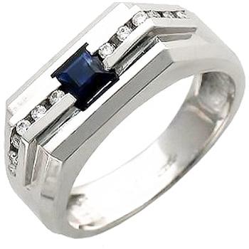 Кольцо из белого золота с 12 бриллиантами весом 0.11 карат и сапфиром