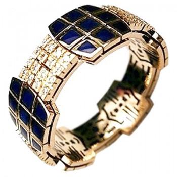 Кольцо из комбинированного золота с 80 бриллиантами весом 0.40 карат и эмалью