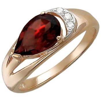 Кольцо из красного золота с 1 гранатом весом 1,4 карат и фианитами
