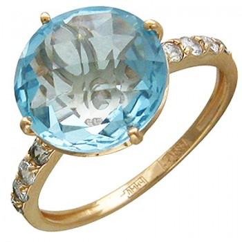 Кольцо из красного золота с 1 топазом весом 7,96 карат и фианитами