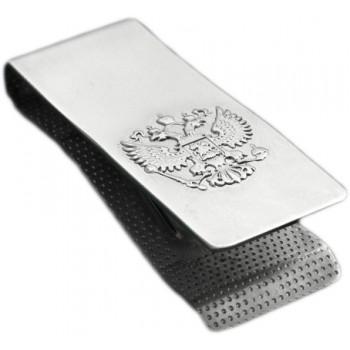 Зажим для денег Герб РФ из серебра 925 пробы