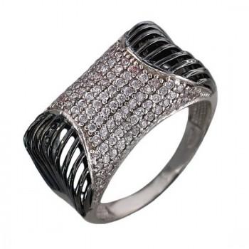 Кольцо из серебра с цирконами, артикул А10К15A325A-КО-ЦИ