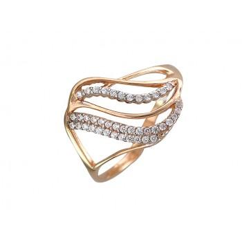 Кольцо из красного золота с 41 фианитом