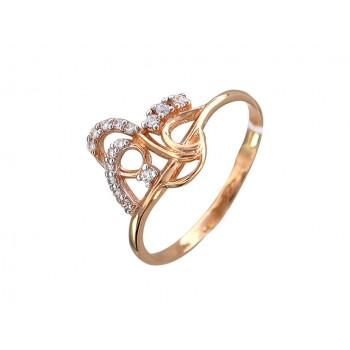 Кольцо из красного золота с 15 фианитами, артикул Т1К110222-КО-ФИ