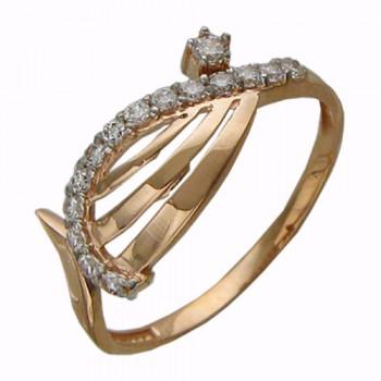 Кольцо из красного золота с 5 фианитами, артикул Т11К110341-КО-ФИ