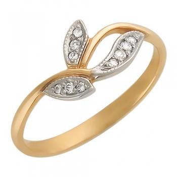 Кольцо из красного золота с 10 фианитами весом 0,14 карат