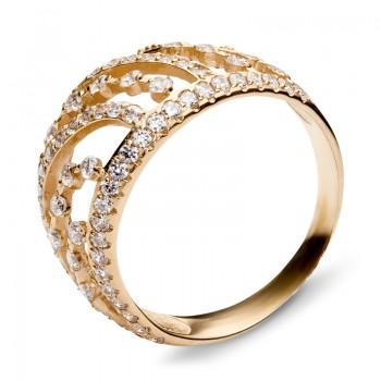 Кольцо из красного золота с 93 фианитами весом 1.67 карат