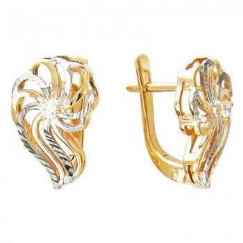 Серьги из красного золота с 2 фианитами, артикул 01С115986-СЕ-ФИ