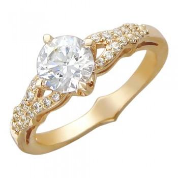 Кольцо из красного золота с 27 фианитами весом 2.47 карат