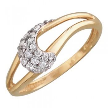 Кольцо из красного золота с 23 фианитами весом 0.45 карат