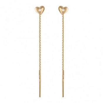 Серьги Сердце из красного золота с 2 фианитами весом 0.13 карат