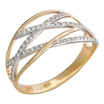 Кольцо из красного золота с 58 фианитами весом 0,29 карат