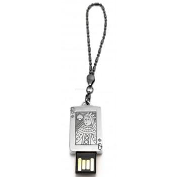 Серебряная флеш-карта  - Дама 32Gb