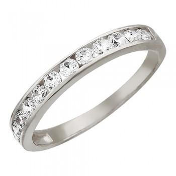 Кольцо из белого золота с 12 фианитами весом 1,05 карат