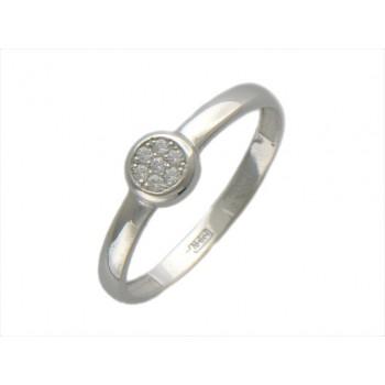 Кольцо из белого золота с 7 фианитами весом 0.13 карат