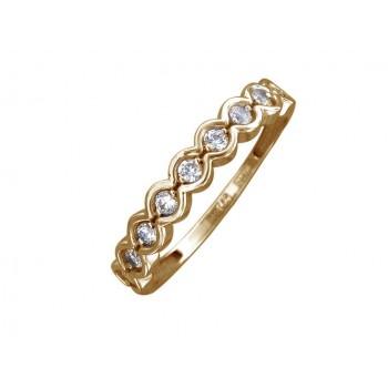 Кольцо из желтого золота с 9 фианитами весом 0.57 карат