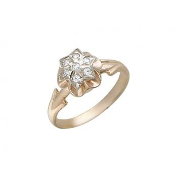 Кольцо из комбинированного золота с 7 фианитами весом 0.17 карат