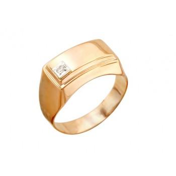 Кольцо из комбинированного золота с 1 фианитом 0 карат