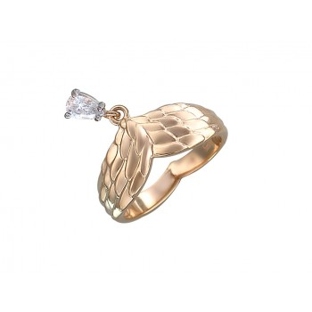 Кольцо из комбинированного золота с 1 фианитом весом 0,34 карат