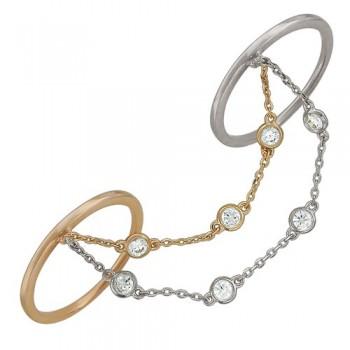 Кольцо из комбинированного золота с 7 фианитами весом 1,37 карат