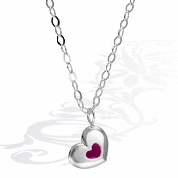 Детская цепочка  Сердце  из серебра с эмалью