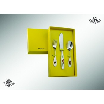 Серебряный детский набор из 3 предметов  Звери
