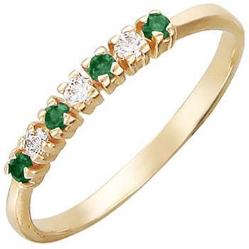 Кольцо из красного золота с 4 алпанитами весом 0,12 карат и фианитами