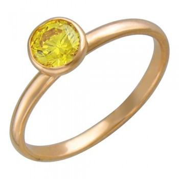Кольцо из красного золота с 1 фианитом весом 0,85 карат, артикул 01К217303-КО-ФИ