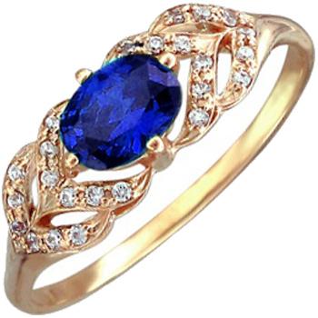 Кольцо из красного золота с 1 сапфиром весом 0.95 карат и фианитами, артикул 01К217340-КО-САФИ