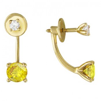 Серьги-пуссеты двойные из желтого золота с 4 фианитами весом 3.19 карат