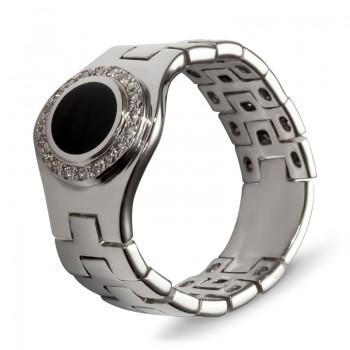 Кольцо из белого золота с 20 бриллиантами весом 0.10 карат и ониксом