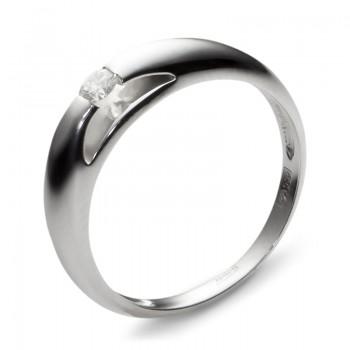 Кольцо из белого золота с 1 бриллиантом весом 0.15 карат, артикул 01К625042-КО-БР