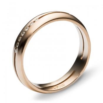 Обручальное кольцо из комбинированного золота с 7 бриллиантами весом 0.07 карат