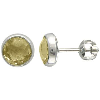 Серьги из белого золота с 2 кварцами весом 3.13 карат