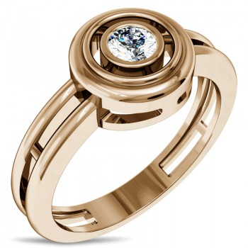 Кольцо из красного золота с 1 бриллиантом весом 0.16 карат, артикул 01К617581-КО-БР