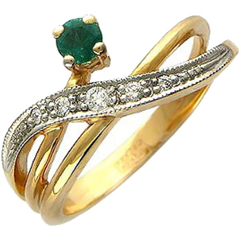 Кольцо из красного золота с 5 бриллиантами весом 0.07 карат и изумрудом, артикул 32к610461-КО-БРБРБРИЗ