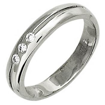 Обручальное кольцо из белого золота с 3 бриллиантами весом 0.07 карат